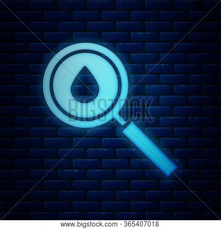 Glowing Neon Oil Drop Icon Isolated On Brick Wall Background. Geological Exploration, Geology Resear