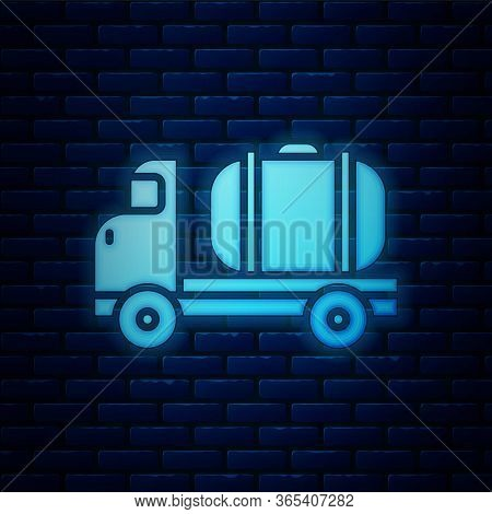 Glowing Neon Tanker Truck Icon Isolated On Brick Wall Background. Petroleum Tanker, Petrol Truck, Ci