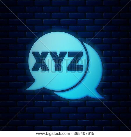 Glowing Neon Xyz Coordinate System Icon Isolated On Brick Wall Background. Xyz Axis For Graph Statis