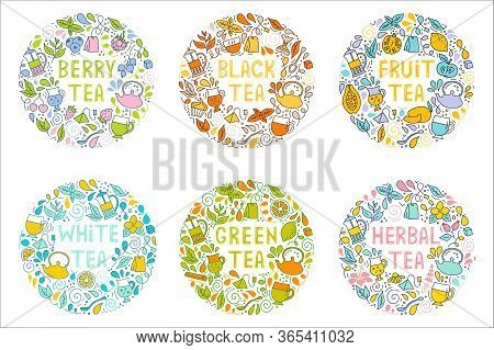 Round Compositions With Tea Symbols. Vector Illustration For Decoration Of Shops, Parties, Packaging