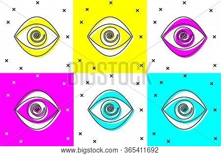 Set Hypnosis Icon Isolated On Color Background. Human Eye With Spiral Hypnotic Iris. Vector Illustra