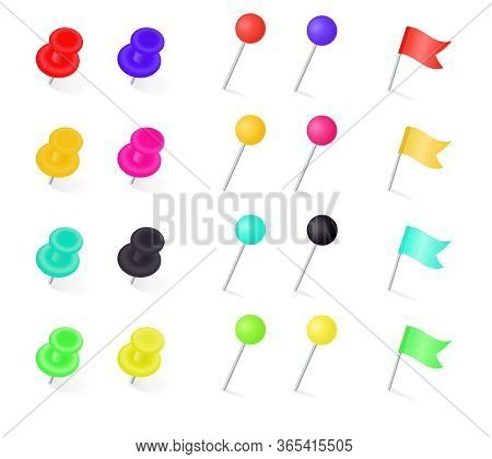 Large Set Of Colorful Flags, Thumb Tacks And Pins On A White Background With Shadow At The Base For