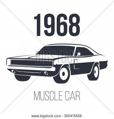 American Muscle Car Logo Black Vector Illustration