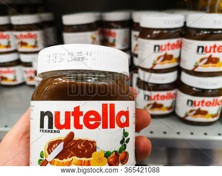 Piemont Chocolate Paste, Or Sweet Spread With Forest Nuts, Cocoa And Nutella Milk From Italian Compa