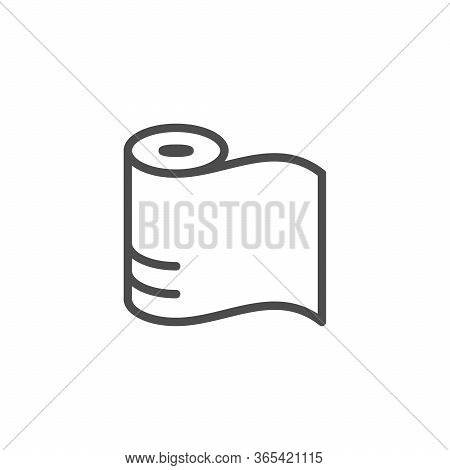 Polyethylene Membrane Line Outline Icon Isolated On White. Package Of Plastic Material. Paper Roll.