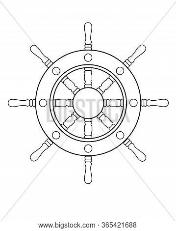 Steering Wheel - Vector Linear Picture For Coloring. Steering Wheel Of A Ship Or Yacht - An Element