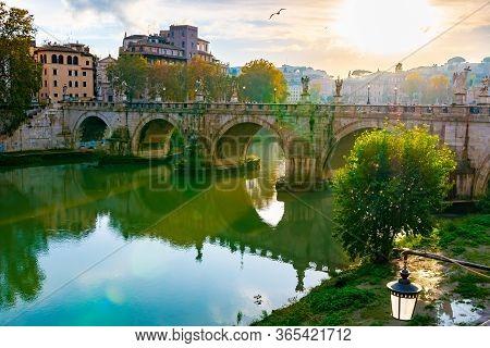Rome, Italy - November 04 2018: Bridge Of Angels (ponte Santangelo) A Roman Pedestrian Bridge In Vat