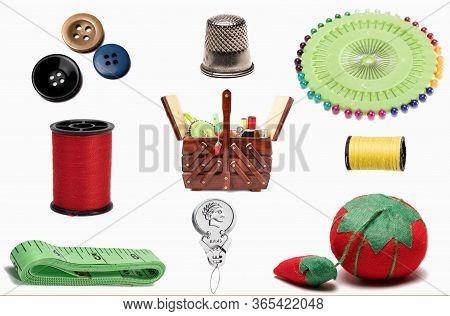 Scrapbook Sewing Embellishments  With Sewing Box, Needles, Utensils, Thimble, Yarn, Pins, Pin Cushio