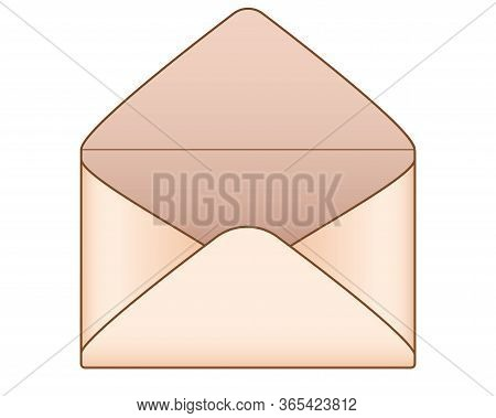 The Envelope. Open Blank Envelope Of Aged Yellowish Paper - Vector Full Color Picture. Open Envelope