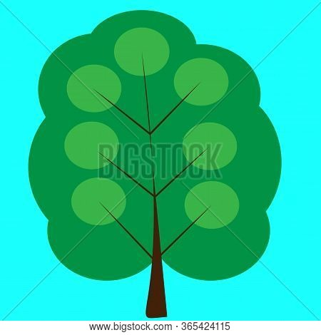 Green Single Tree In Forest. Isolation Tree At The Blue Backdrop. Eco Life. Colorful Wooden. Decorat