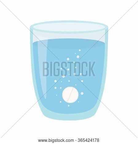 A Glass Of Water With Pill. Anesthetic Medication.