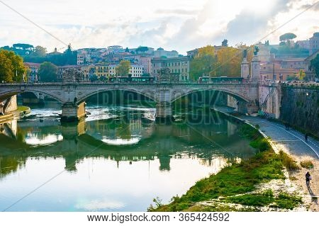 Rome, Italy - November 04 2018: Ponte Vittorio Emanuele Ii Bridge Spans River Tiber In The Italian C