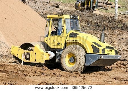 Kirishi, Russia - 8 May, Special Machinery For Tamping Soil, 8 May, 2020. Start Of Construction Of A