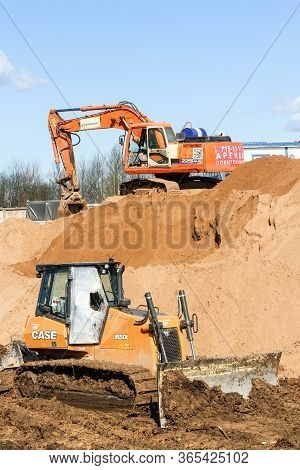 Kirishi, Russia - 8 May, Tracked Special Equipment For Earthworks, 8 May, 2020. Start Of Constructio