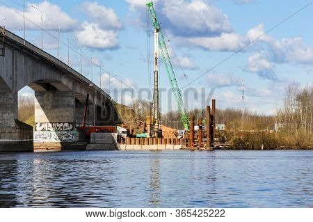 Kirishi, Russia - 8 May, Special Equipment For The Construction Of The Bridge, 8 May, 2020. Start Of