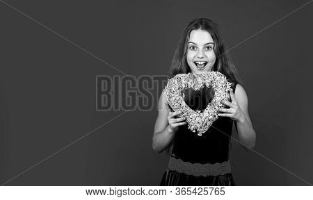 Happy Valentines Day. Happy Valentines Girl Red Background. Small Child With Valentines Heart. Celeb