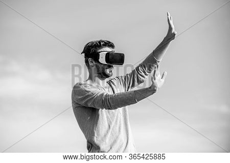 Virtual Reality Goggles. Man With Wireless Vr Glasses Headset. Augmented Reality. Designer Or Engine