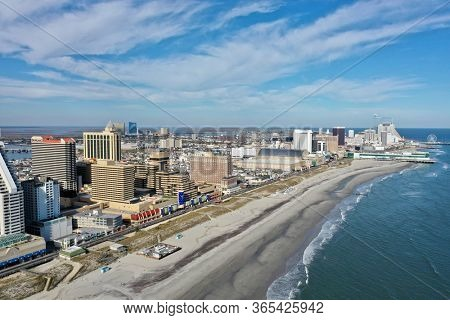 Atlantic City N.J/USA/ April 3, 2020: Aerial view of Atlantic City N.J during Covid 19 pandemic.