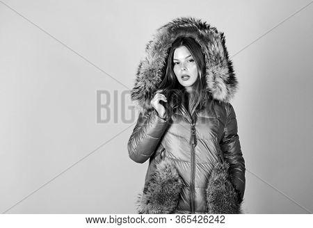 Faux Fur. Girl Wear Warm Jacket. Shopping Concept. Black Friday. Personal Stylist Service. Buy Winte