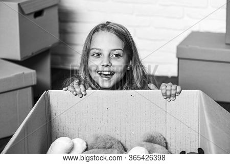 Delivering Happiness. Little Child Open Post Package With Toys. Deliver Your Treasures. Storage For