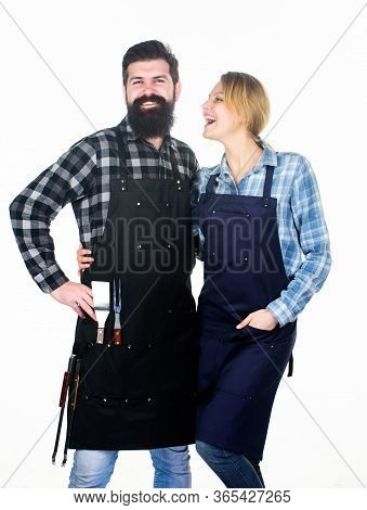 Couple In Love Getting Ready For Barbecue. Picnic And Barbecue. Man Bearded Guy And Girl Ready For B
