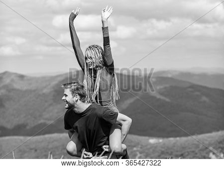 Two Hearts Full Of Love. Beautiful Couple Embracing Landscape Background. Couple In Love Summer Vaca