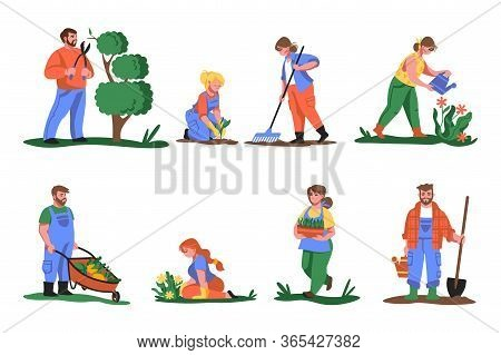 Farmers. Cartoon People Planting Flowers And Greens, Cutting And Gardening Plants, Growing Vegetable