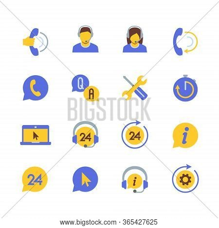 Support Service And Telemarketing Vector Icon Set In Flat Style