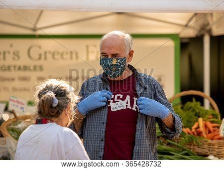 Davis, California, Usa. April 18, 2020. The Farmers Market Is Still Open Despite The Lockdown. The T