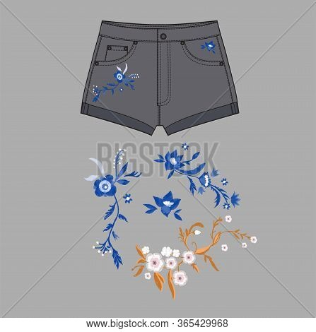 Short Pants, Flat Sketch Template, Vector, Apparel Template. Technical Sketch Of Shorts. Jeans Short