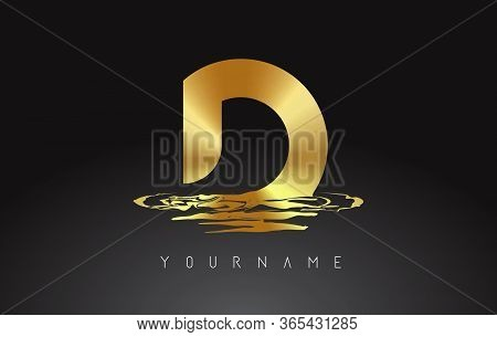 Golden D Letter Logo Design With Water Effect Vector Illustration. Template D For Brand-name Compani