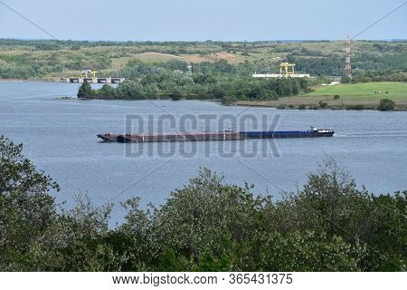 Ship Sailing On Danube Near Great Island Between Serbia And Romania
