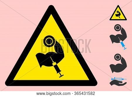 Vector Anabolic Steroid Flat Warning Sign. Triangle Icon Uses Black And Yellow Colors. Symbol Style