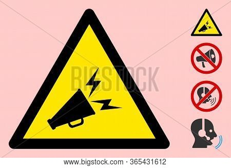 Vector Announce Horn Flat Warning Sign. Triangle Icon Uses Black And Yellow Colors. Symbol Style Is