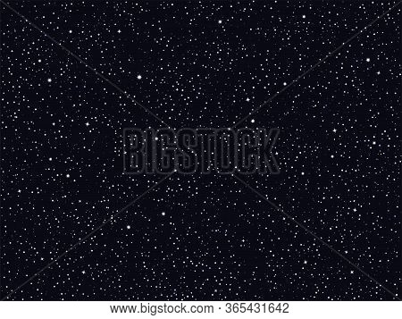 Starry Night Sky, Deep Outer Space Vector Background