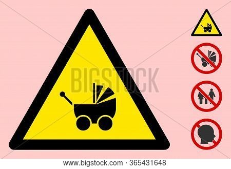 Vector Baby Carriage Flat Warning Sign. Triangle Icon Uses Black And Yellow Colors. Symbol Style Is