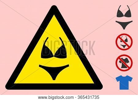 Vector Bikini Flat Warning Sign. Triangle Icon Uses Black And Yellow Colors. Symbol Style Is A Flat