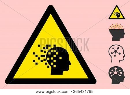 Vector Brain Destruction Flat Warning Sign. Triangle Icon Uses Black And Yellow Colors. Symbol Style