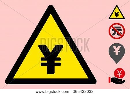 Vector Chinese Yuan Flat Warning Sign. Triangle Icon Uses Black And Yellow Colors. Symbol Style Is A