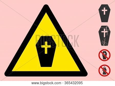 Vector Coffin Flat Warning Sign. Triangle Icon Uses Black And Yellow Colors. Symbol Style Is A Flat