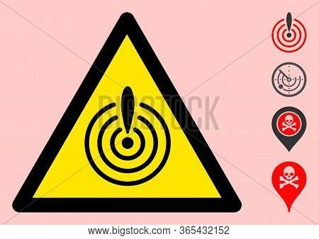 Vector Crisis Radar Flat Warning Sign. Triangle Icon Uses Black And Yellow Colors. Symbol Style Is A