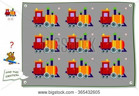 Logic Puzzle Game For Children And Adults. Find Two Identical Trains. Printable Page For Kids Brain