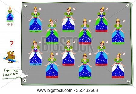 Logic Puzzle Game For Children And Adults. Find Two Identical Princess. Printable Page For Kids Brai