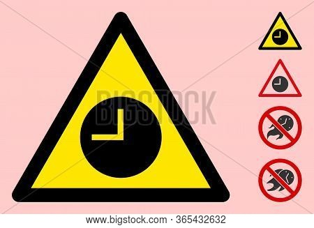 Vector Expired Flat Warning Sign. Triangle Icon Uses Black And Yellow Colors. Symbol Style Is A Flat