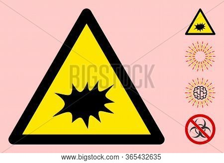 Vector Explode Flat Warning Sign. Triangle Icon Uses Black And Yellow Colors. Symbol Style Is A Flat