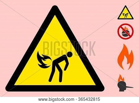 Vector Fire Fart Flat Warning Sign. Triangle Icon Uses Black And Yellow Colors. Symbol Style Is A Fl