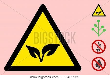 Vector Flora Plant Flat Warning Sign. Triangle Icon Uses Black And Yellow Colors. Symbol Style Is A