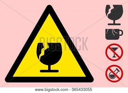 Vector Fragile Glass Flat Warning Sign. Triangle Icon Uses Black And Yellow Colors. Symbol Style Is