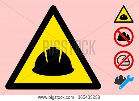 Vector Hard Helmet Flat Warning Sign. Triangle Icon Uses Black And Yellow Colors. Symbol Style Is A