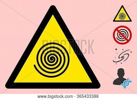 Vector Hypnosys Spiral Flat Warning Sign. Triangle Icon Uses Black And Yellow Colors. Symbol Style I